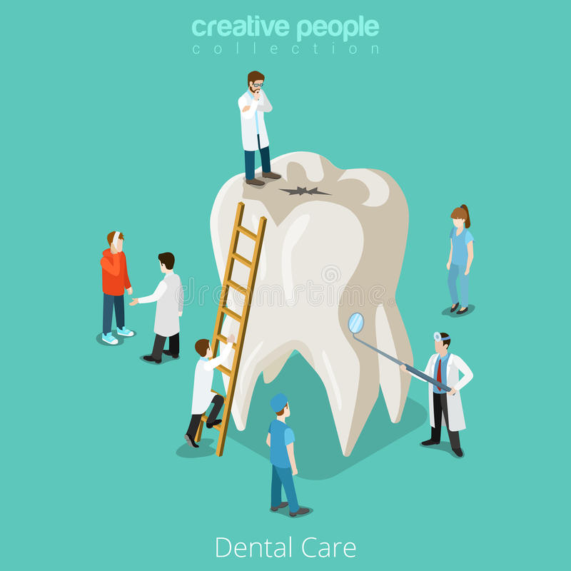 Dental Care micro dentist patient people and huge vector illustration