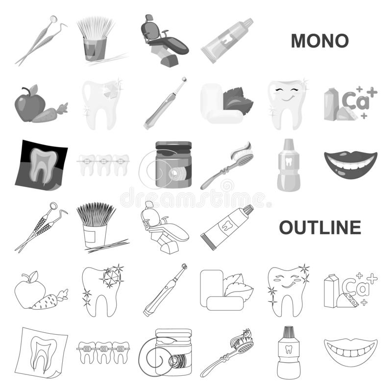 Dental care monochrom icons in set collection for design. Care of teeth vector symbol stock web illustration. Dental care monochrom icons in set collection for royalty free illustration