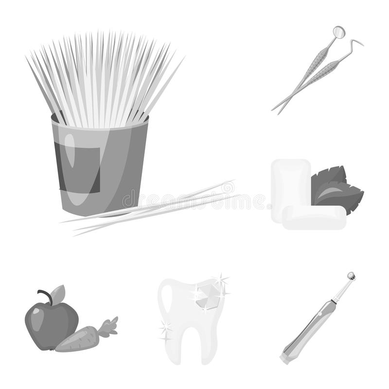Dental care monochrome icons in set collection for design. Care of teeth vector symbol stock web illustration. Dental care monochrome icons in set collection vector illustration