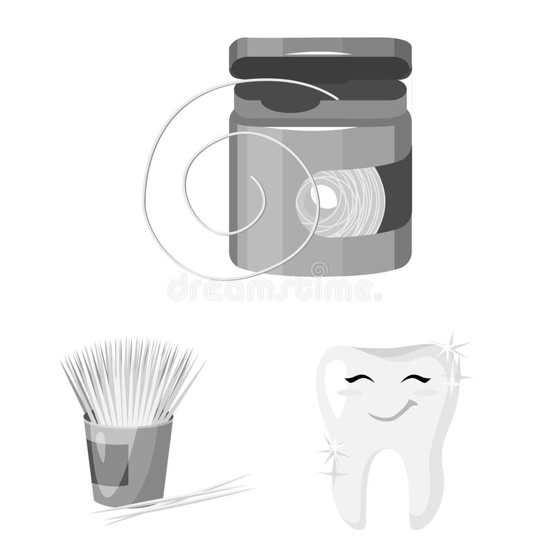 Dental care monochrome icons in set collection for design. Care of teeth vector symbol stock web illustration. Dental care monochrome icons in set collection royalty free illustration