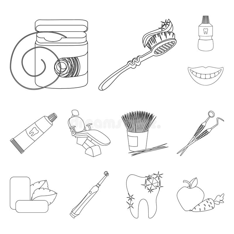 Dental care outline icons in set collection for design. Care of teeth vector symbol stock web illustration. Dental care outline icons in set collection for royalty free illustration
