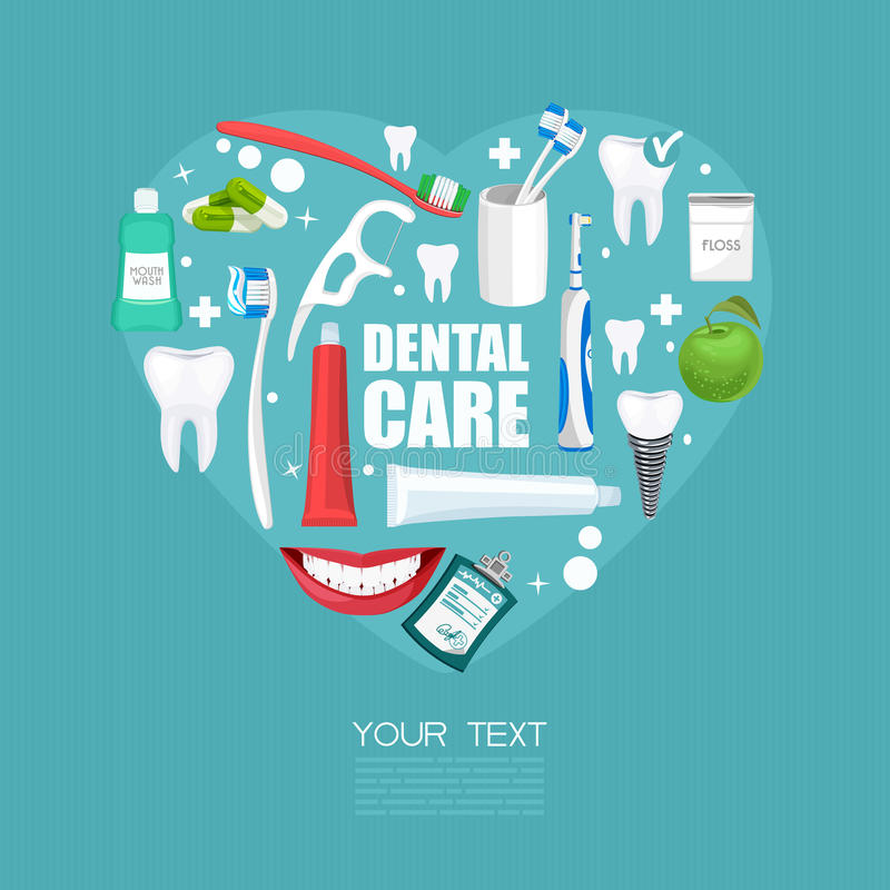 Dental care poster with equipments and heart shape. Dental treatment and dental tools on blue background. Dentistry infographics with equipments vector illustration
