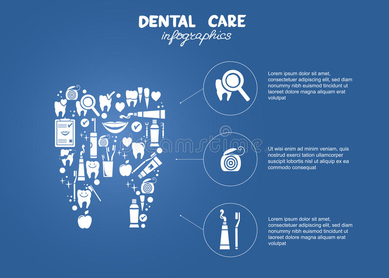 Dental care simple infographics. Dental care objects in the shape of tooth symbol vector illustration