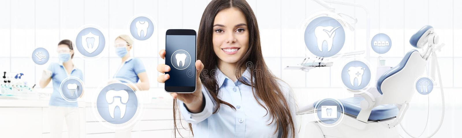 Dental care smiling woman showing smart phone, teeth icons and s royalty free illustration