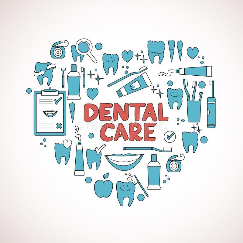 Dental care symbols in the shape of heart royalty free illustration