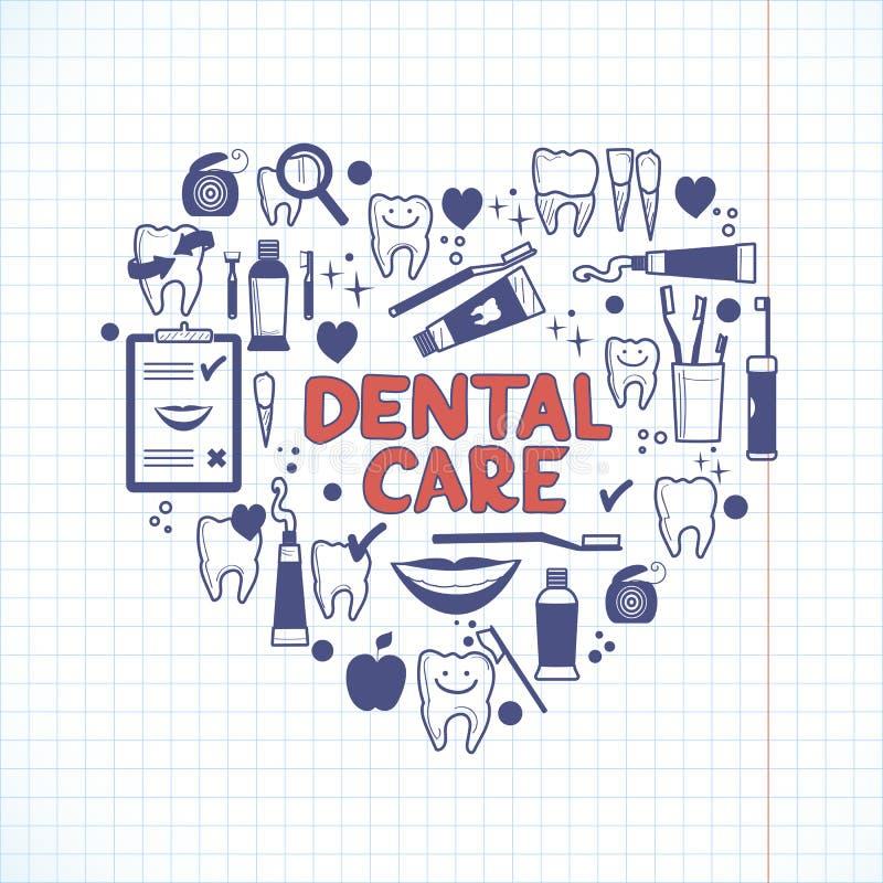 Dental care symbols in the shape of heart stock illustration
