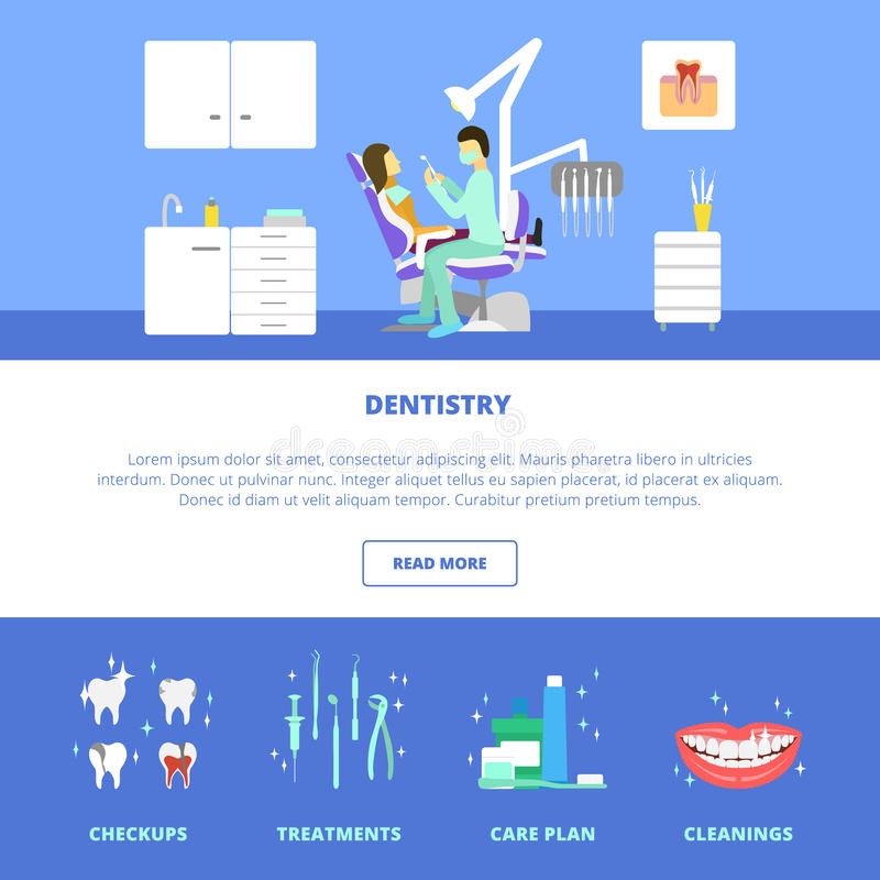 Dental care template. Vector dental care concept, template, layout. Dental chair. Dentist tools, dentist office. Doctor and patient royalty free illustration