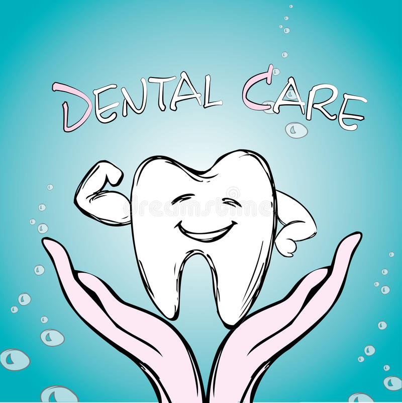 Dental care, tooth on hand,. Hand drawn vector royalty free illustration