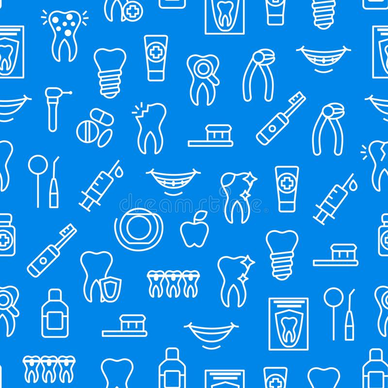 Dental Care Tooth Thin Line Seamless Pattern Background. Vector vector illustration