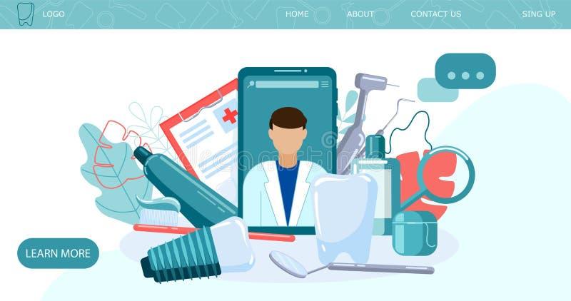 Dental care web design concept. Dentistry banner. Dentist tools landing web page stock illustration