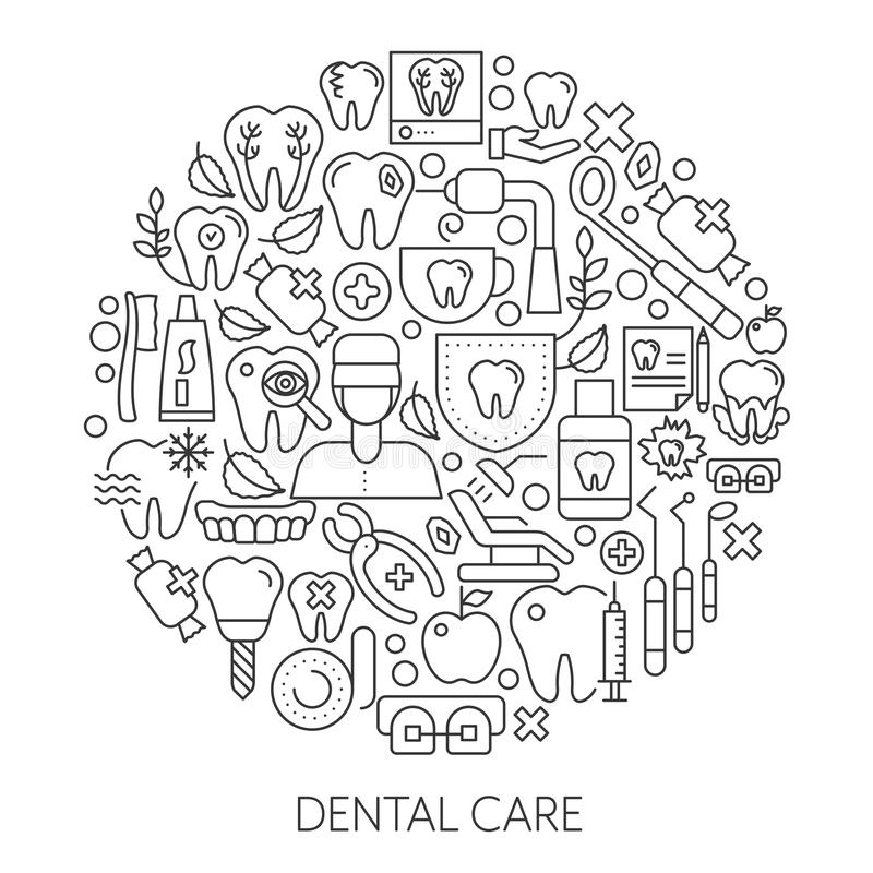 Dental care web design concept. Line icons for website and landing page. royalty free illustration