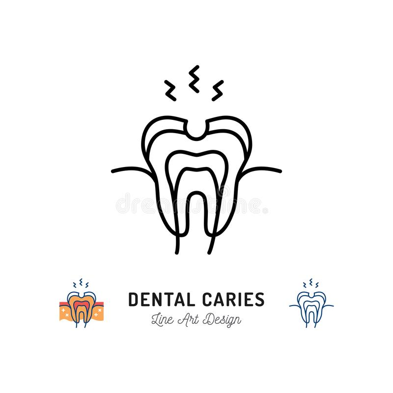 Dental caries icon. Tooth hole, damaged tooth enamel, toothache. Stomatology Dental care thin line art icons, Vector vector illustration