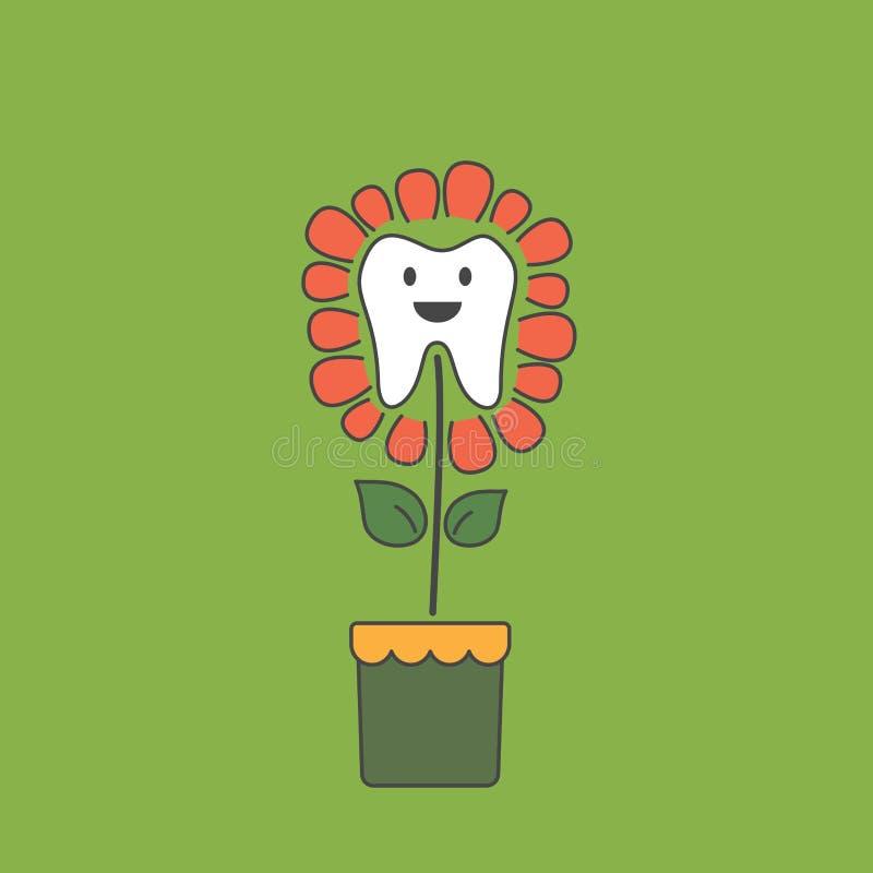 Cute healthy tooth is growing as teeth flower vector illustration
