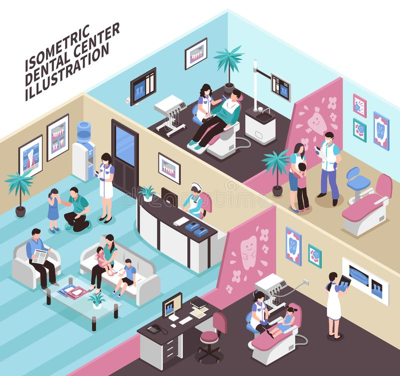 Dental Center Isometric Illustration. Dental center isometric vector illustration with adult and kid patients and stomatology equipment in clinic interiors vector illustration