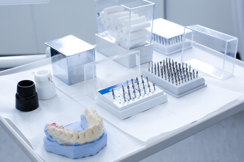 Dental ceramic preparation kit royalty free stock photo