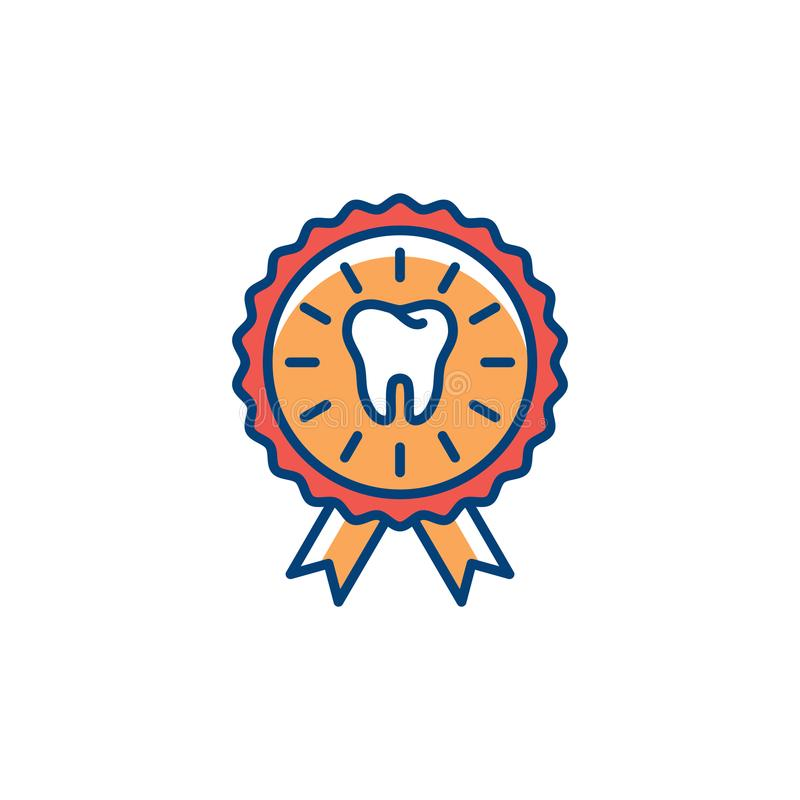 Dental Certificate icon. Dental care, award icon, Colorful thin line art symbol, Vector flat illustration. Dental Certificate icon. Dental care, award icon royalty free illustration