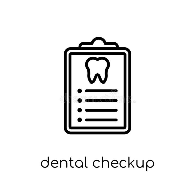 Dental Checkup icon. Trendy modern flat linear vector Dental Che. Ckup icon on white background from thin line Dentist collection, editable outline stroke vector stock illustration