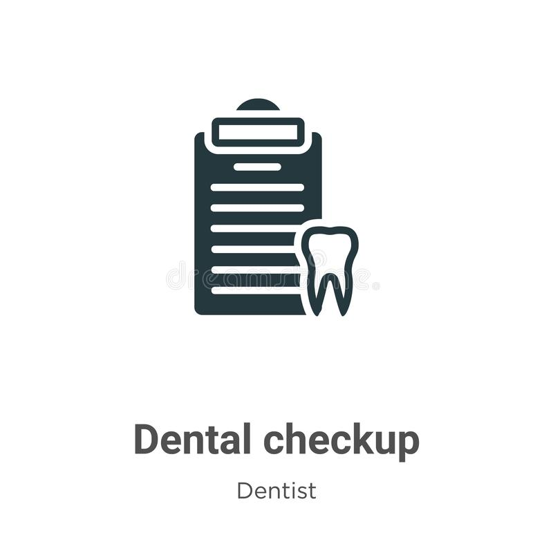 Dental checkup vector icon on white background. Flat vector dental checkup icon symbol sign from modern dentist collection for. Mobile concept and web apps stock illustration