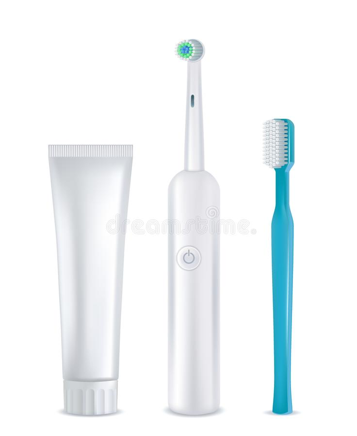 Dental cleaning tools set, vector realistic mockups vector illustration