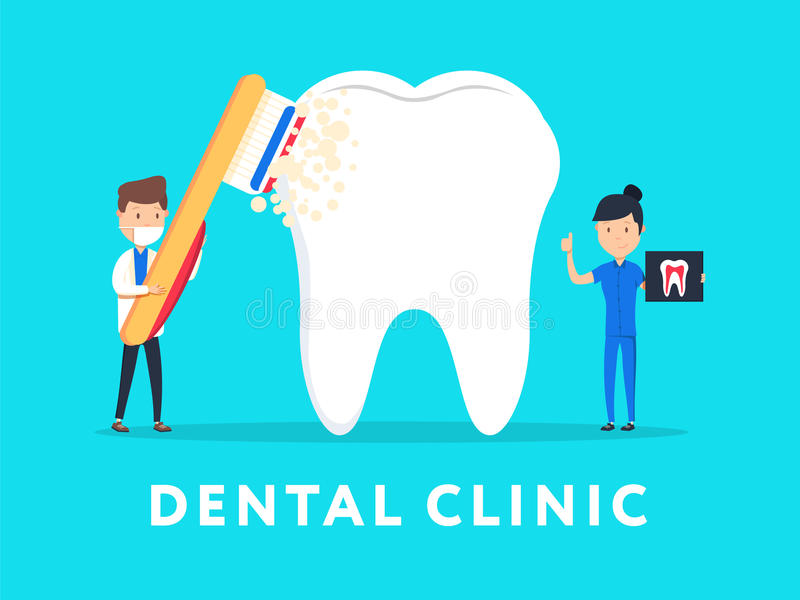 Dental clinic concept design for web banners, infographics. Stomatology dentist at work. Flat style illustration. stock illustration