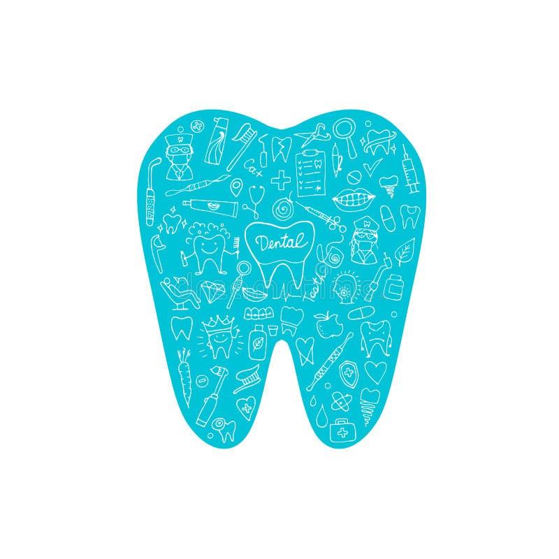 Dental clinic concept, sketch for your design. Vector illustration royalty free illustration
