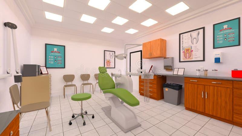 Dental clinic. 3D CG rendering of the dental clinic stock illustration