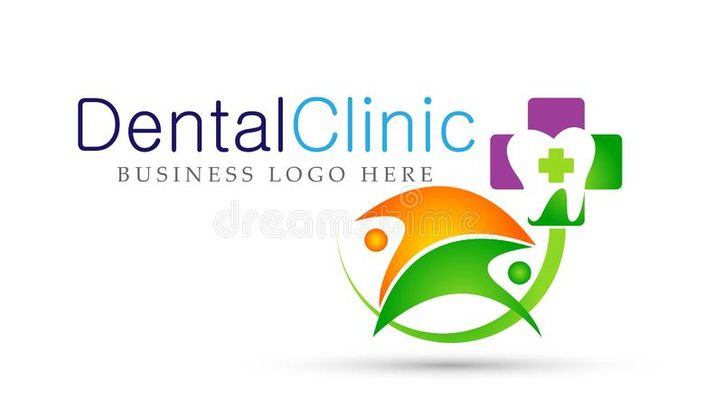 Dental clinic dentist people health care logo design icon on white background royalty free illustration