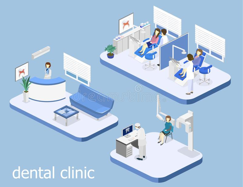 Dental Clinic. flat interior of dentist`s office. Isometric 3D isolated concept cutaway interior of a Dentistry waiting room. Dental Clinic. flat interior of stock illustration