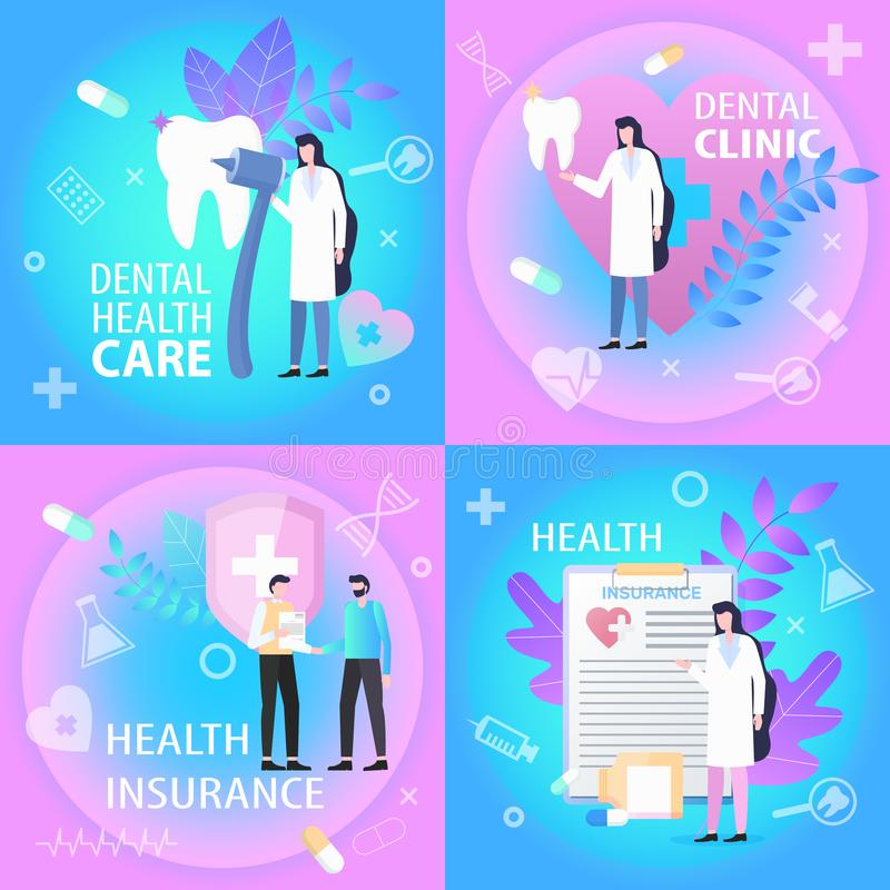 Dental Clinic Health Care Insurance Banner Set. Doctor Dentist Tooth Treatment Man Sign Contract Vector Illustration. medical Professional Service Money Bill stock illustration