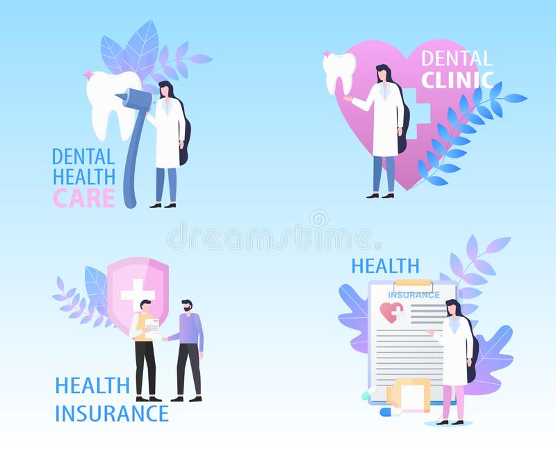 Dental Clinic Health Care Insurance Banner Set. Vector Illustration. Insurance Protection Professional Medical Stomatology Treatment Doctor Checkup Service royalty free illustration