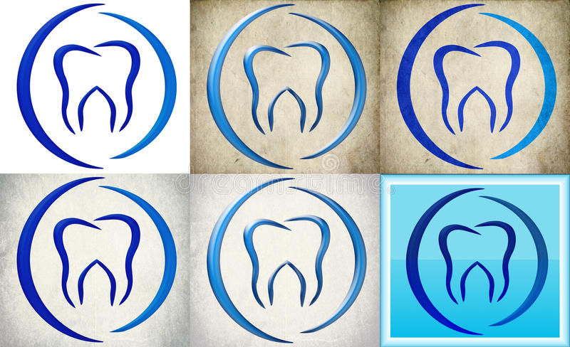 Dental clinic logo with retro background royalty free stock photo
