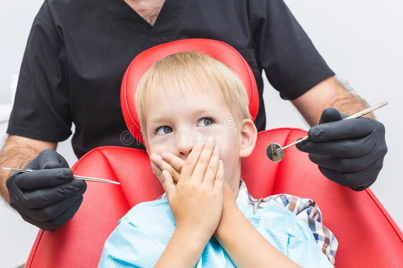 Dental clinic. Reception, examination of the patient. Teeth care stock photo
