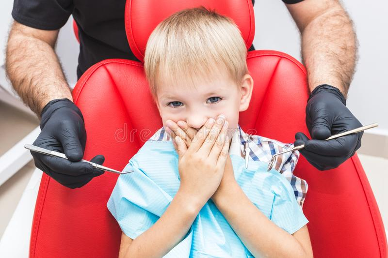Dental clinic. Reception, examination of the patient. Teeth care stock photography