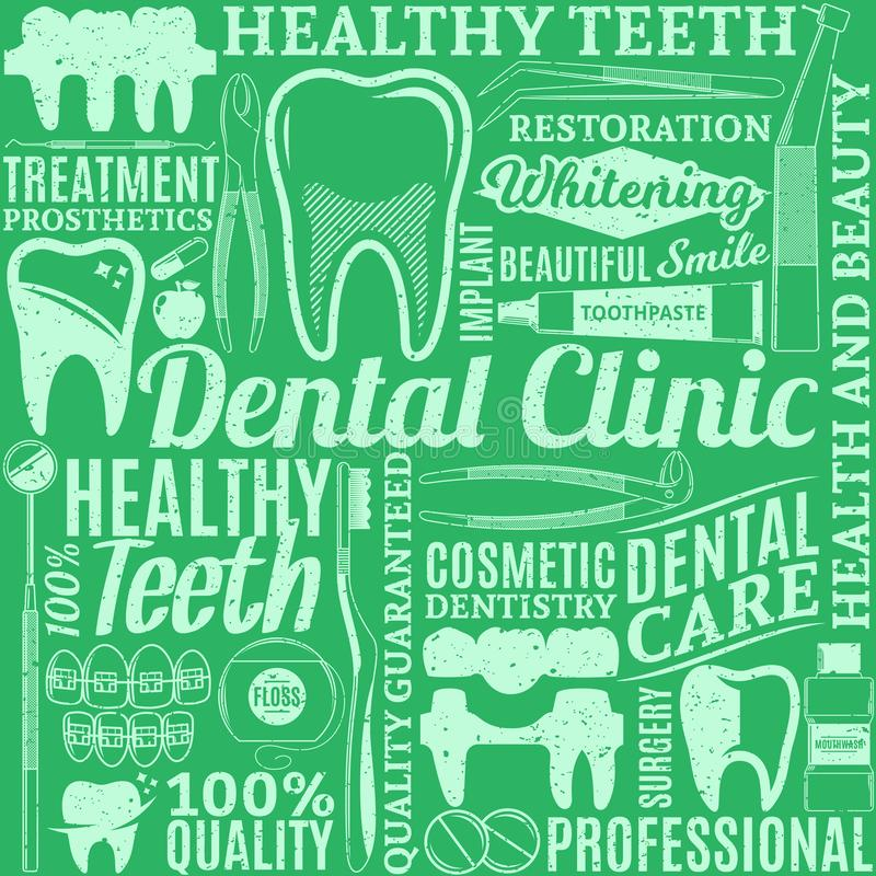 Dental clinic seamless pattern. Typographic vector dental clinic seamless pattern or background. Tooth and medical instrument icons vector illustration