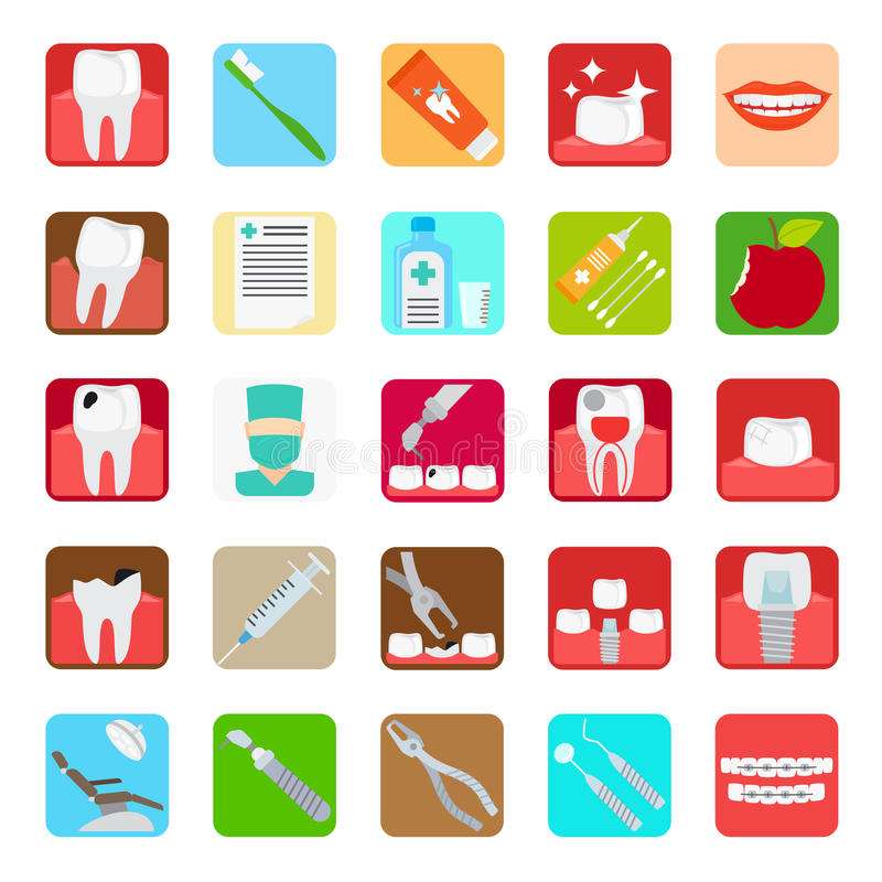 Dental clinic services icons. Dental clinic services flat colored icons. Vector illustration royalty free illustration