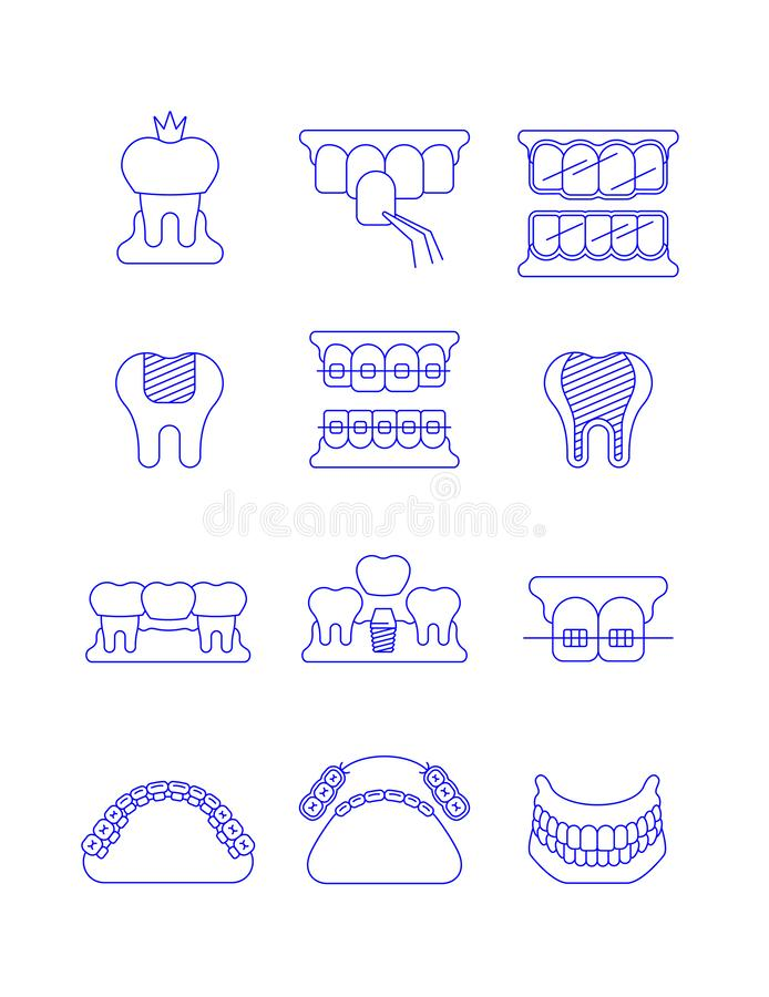 Dental clinic surgery services thin line icons. Dental clinic surgery services thin line vector icons. Dental implant, bridge, veneer, crown concepts stock illustration
