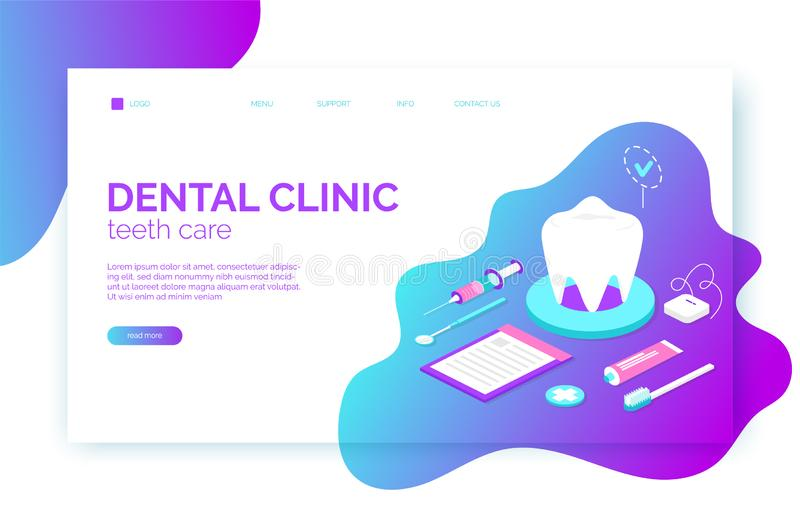 Dental clinic website header, banner, flyer template in isometric flat style with tooth, brush, toothpaste vector illustration