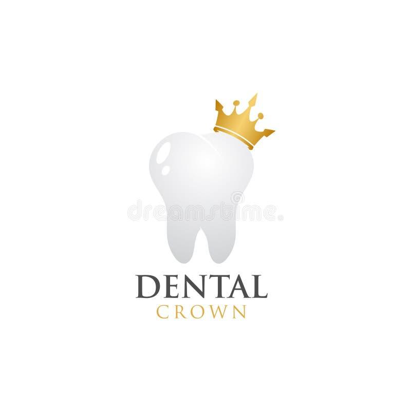 Dental crown logo design template vector royalty free illustration