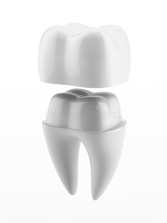 Dental crown and tooth royalty free illustration