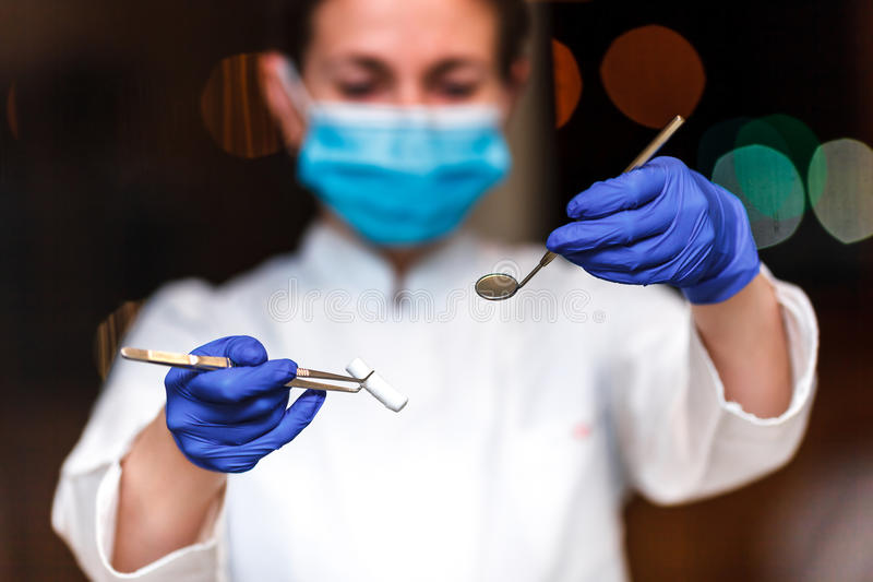 Dental and endodontic instruments in hands of dentist. The dentist women in blue gloves holding metal professional tools royalty free stock images
