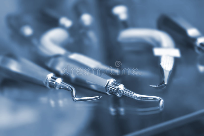 Dental equipment. Low DOF, special toned photo f/x, iso 200 royalty free stock photography