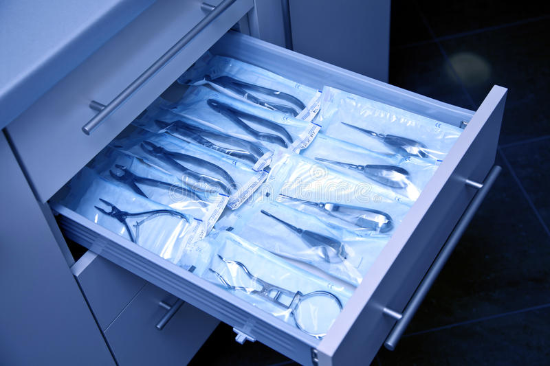 Dental equipment in blue light stock photo