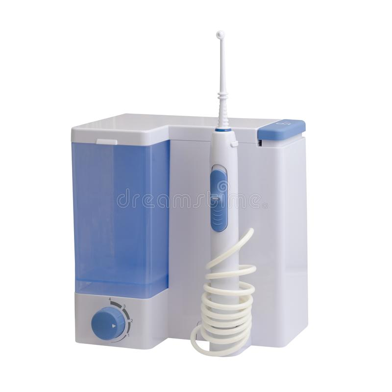 Dental equipment care. Irrigator for mouth royalty free stock images