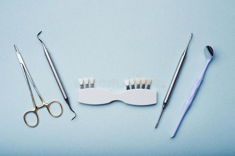 Dental equipment. On light blue background royalty free stock images