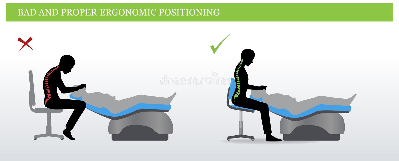 Dental ergonomics. Wrong and correct sitting pose vector illustration