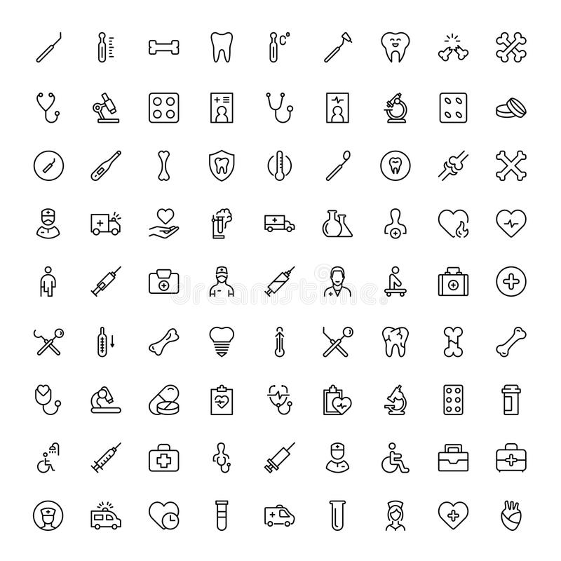 Dental flat icon. Dental icon set. Collection of vector symbols on white background for web design. Black outline sings for mobile application vector illustration