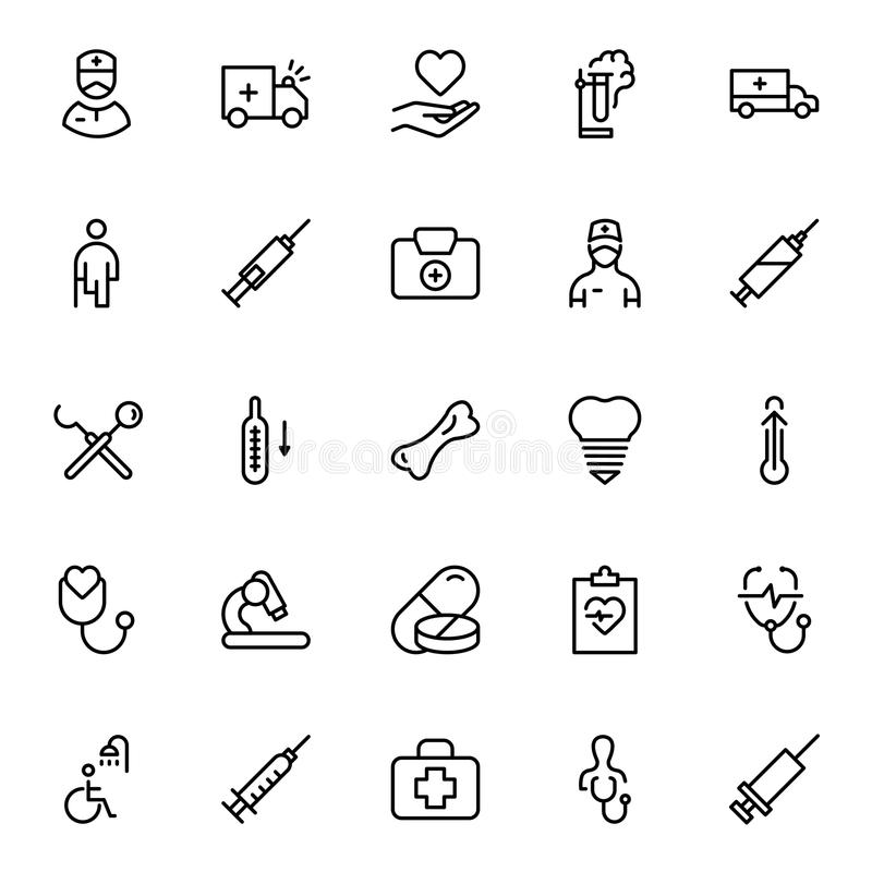Dental flat icon. Dental icon set. Collection of vector symbols on white background for web design. Black outline sings for mobile application royalty free illustration