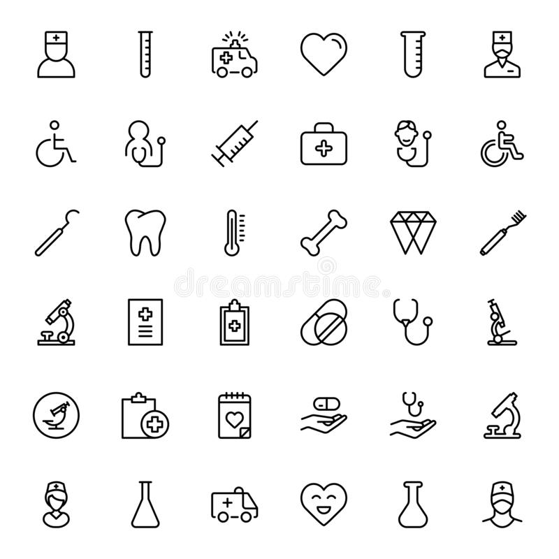 Dental flat icon. Dental icon set. Collection of vector symbols on white background for web design. Black outline sings for mobile application stock illustration