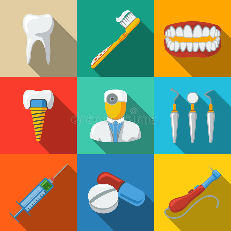 Dental flat long shadow icons set - tooth, jaw stock illustration