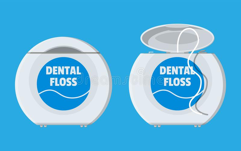 Dental floss in box. Container thread for tooth. Dental floss in box. Plastic container with thread for tooth. Oralcare equipment. Vector illustration in flat vector illustration